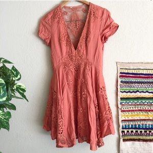 Salmon Boho Lace Urban Outfitters Dress